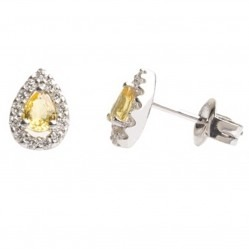 18ct White Gold Pear Shape Yellow Sapphire Diamond Halo Stud Earrings 18DER161-YS-W