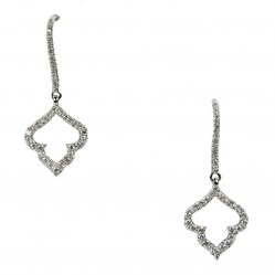 18ct White Gold Open Leaf Diamond Dropper Earrings 1215 1436