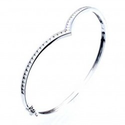 18ct White Gold Diamond Wishbone Bangle 18DBA125W