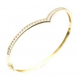 18ct Yellow Gold Diamond Wishbone Bangle 18DBA125Y