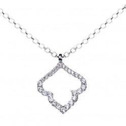 18ct White Gold Diamond Open Leaf Pendant 1211 0471