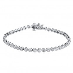 18ct White Gold Diamond Tennis Bracelet SKB15917-300