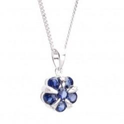 18ct White Gold Diamond and Sapphire Flower Pendant 18DP153-S-W