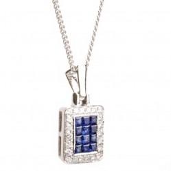 18ct White Gold Diamond Sapphire Rectangular Pendant 18DP326-S-W