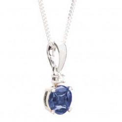 18ct White Gold Sapphire and Diamond Round Pendant 18DP403/S/W
