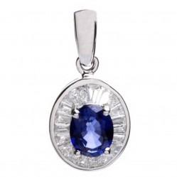 18ct White Gold Diamond Sapphire Oval Cluster Pendant 18DP415-S-W