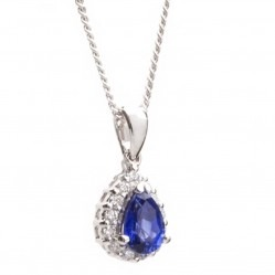 18ct White Gold Diamond Sapphire Tear Drop Pendant 18DP417-S-W
