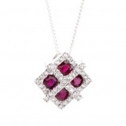 18ct White Gold Diamond and Ruby Fancy Square Pendant 18DP150-R-W