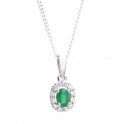 18ct White Gold Diamond Emerald Oval Cluster Pendant 18DP144-E-W