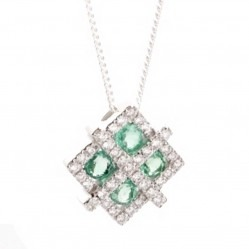 18ct White Gold Diamond Emerald Fancy Square Pendant 18DP150-E-W