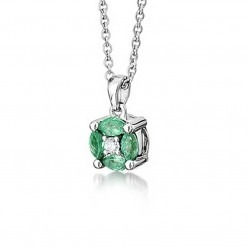 18ct White Gold Diamond and Emerald Round Pendant 18DP413-E-W