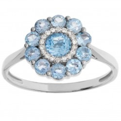 14ct White Gold Blue Topaz and Diamond Flower Cluster Ring SKR1219314ct M