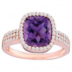 14ct Rose Gold Amethyst and Diamond Cluster Ring SKR11996 14ct M