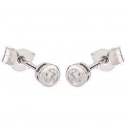 Platinum Bezel-Set Diamond Stud Earrings PAE17