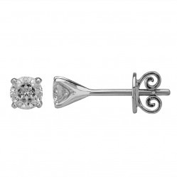 Mastercut Simplicity Four Claw 18ct White Gold Single Stone 0.50ct Diamond Studs C5ER001 050W