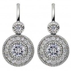 Mastercut Vintage 18ct White Gold Diamond Cluster Dropper Earrings C6ER002 040W