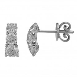 Mastercut Simplicity Four Claw 18ct White Gold 1.00ct Three Stone Diamonds Stud Earrings C5ER002 100W