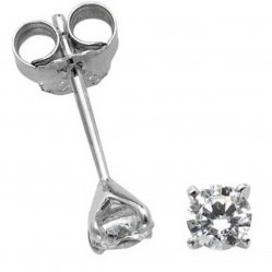 Mastercut Simplicity Four Claw 18ct White Gold Single Stone 0.40ct Diamond Studs C5ER001 040W