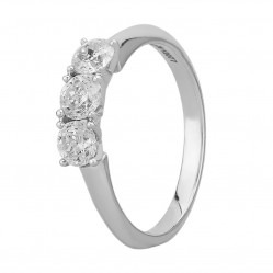 Mastercut Simplicity Four Claw 18ct White Gold 0.80ct Diamond Trilogy Ring C5RG002 080W