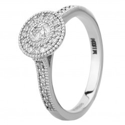 Mastercut Vintage 18ct White Gold 0.30ct Diamond Cluster Shouldered Ring C6RG003 030W M12916