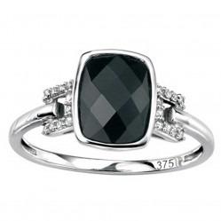 9ct White Gold Black Agate Diamond Solitaire Ring GK-GR372B