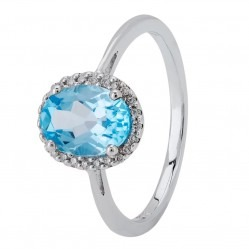 9ct White Gold Oval-cut Blue Topaz and Diamond Cluster Ring 9DR275/W