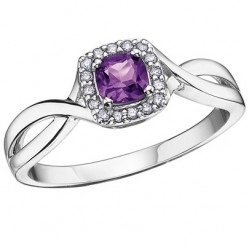 9ct White Gold Cushion-cut Amethyst and Diamond Square Cluster Ring 51Y64WG-2-9