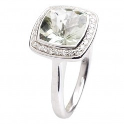 9ct White Gold Green Amethyst Diamond Halo Ring 9DR442-GAM-W