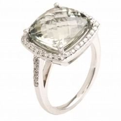 9ct White Gold Green Amethyst Diamond Halo Ring 9DR443-GAM-W