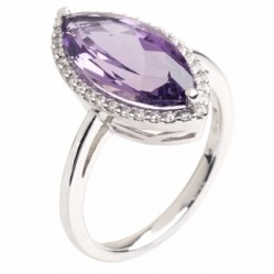 9ct White Gold Amethyst and Diamond Marquise Cluster Ring 9DR323-AM-W M