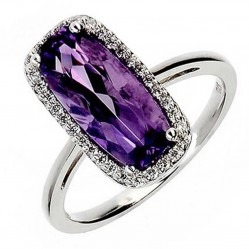 9ct White Gold Amethyst and Diamond Cluster Ring 9DR324-AM-W