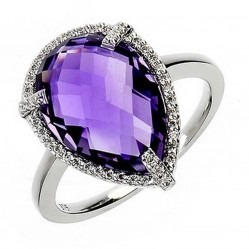 9ct White Gold Amethyst Pear Diamond Halo Ring 9DR329-AM-W