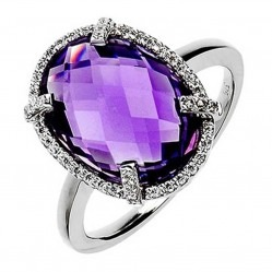 9ct White Gold Amethyst Round Diamond Halo Ring 9DR330-AM-W