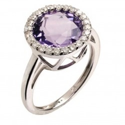 9ct White Gold Amethyst and Diamond Round Cluster Ring 9DR390-AM-W