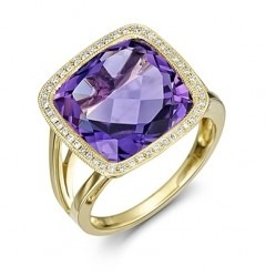 9ct Gold Cushion-cut Amethyst and Diamond Vintage Cluster Ring 9DR400-AM-Y N