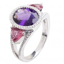 9ct White Gold Amethyst Tourmaline Diamond Trilogy Ring 9DR409-AM-W