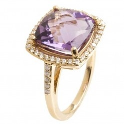 9ct Yellow Gold Amethyst and Diamond Cluster Ring 9DR443-AM-Y
