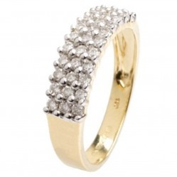 18ct Yellow Gold Three Row Diamond Ring 18DR112-2C