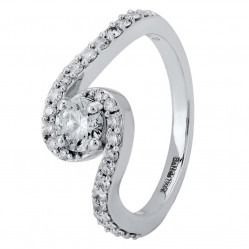 18ct White Gold Diamond Wave Twist Cluster Ring VER4-75 L