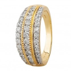 9ct Yellow Gold 1.00ct Diamond Multi-set Three Row Ring SKR18910-100 YG