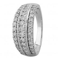 9ct White Gold 1.00ct Diamond Multi-set Three Row Ring SKR18910-100 WG
