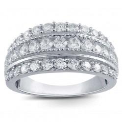 9ct White Gold 1.00ct Three Row Diamond Ring SKR18910-100 WG