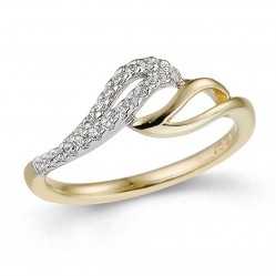 9ct Two Colour Gold Double Diamond Swirl Ring 32.09267.002