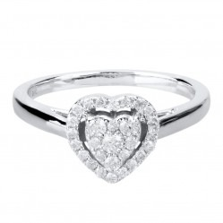9ct White Gold 0.25ct Diamond Heart Cluster Ring SKR10927-25