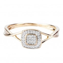 9ct Yellow Gold 0.05ct Diamond Pave Square Cluster Promise Ring SKR19766-05 9KY