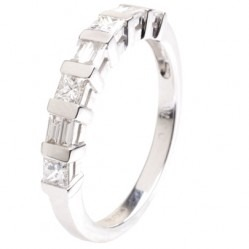 18ct White Gold Ridged Half Eternity Diamond Ring 18DR398-W
