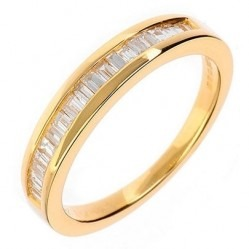 18ct Gold Baguette-cut Diamond Channel Set Half Eternity Ring 18DR128-Y H