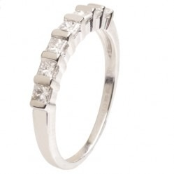 18ct White Gold Seven Stone Diamond Half Eternity Ring 18DR155-W O