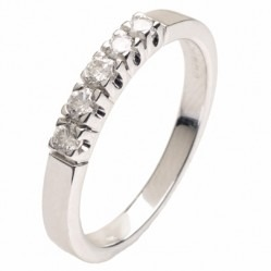 18ct White Gold Five Stone 0.25ct Diamond Half Eternity Ring 18DR150-W