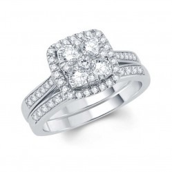 18ct White Gold 1.00ct Illusion Set Diamond Bridal Set SKR15170-100